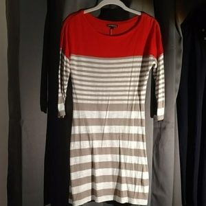EXPRESS casual orange and tan striped dress